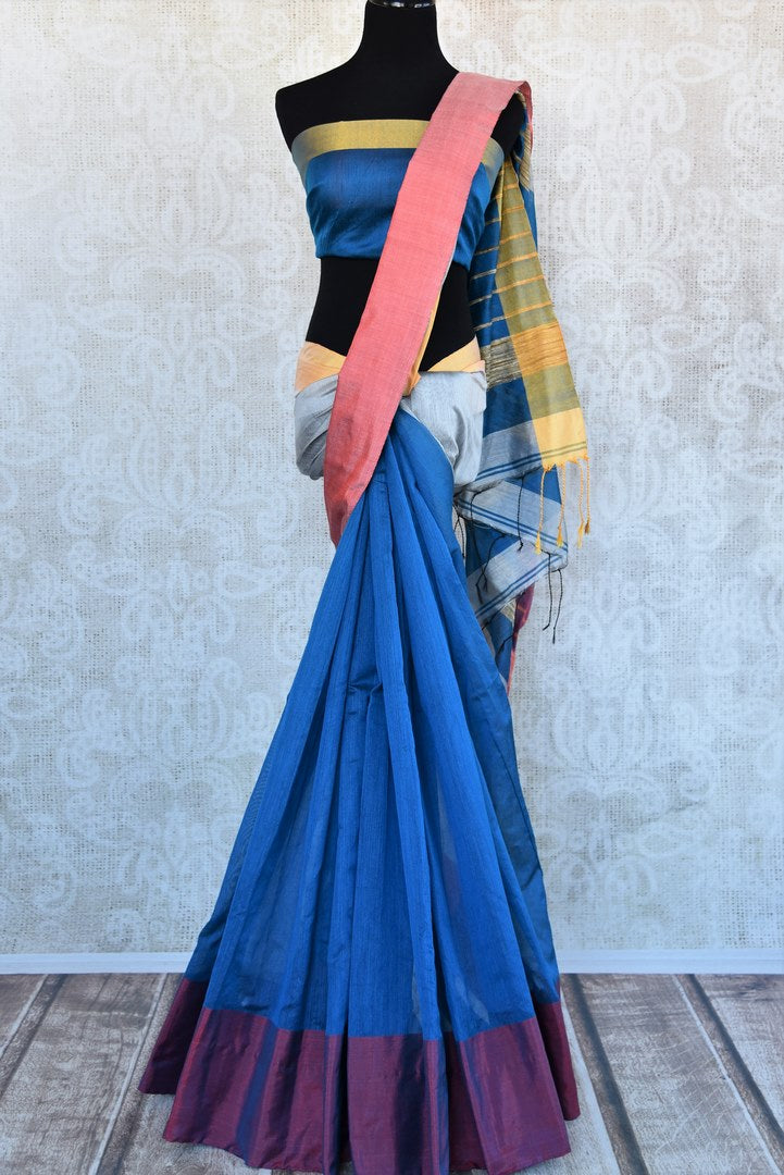 Buy beautiful blue cotton matka silk saree online in USA. Pure Elegance Indian fashion store brings an exquisite range of Indian designer sarees in USA for women.-full view