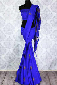 Elegant blue muga Benarasi saree with buta buy online in USA. Shop the latest design Indian designer sarees from Pure Elegance clothing store in USA for women.-full view