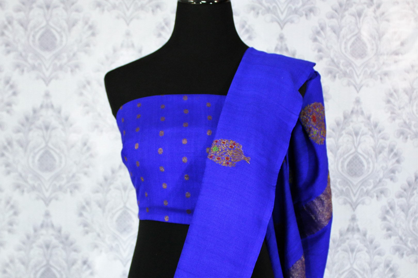 Elegant blue muga Benarasi saree with buta buy online in USA. Shop the latest design Indian designer sarees from Pure Elegance clothing store in USA for women.-blouse pallu