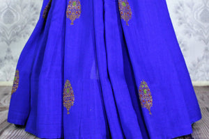 Elegant blue muga Benarasi saree with buta buy online in USA. Shop the latest design Indian designer sarees from Pure Elegance clothing store in USA for women.-pleats