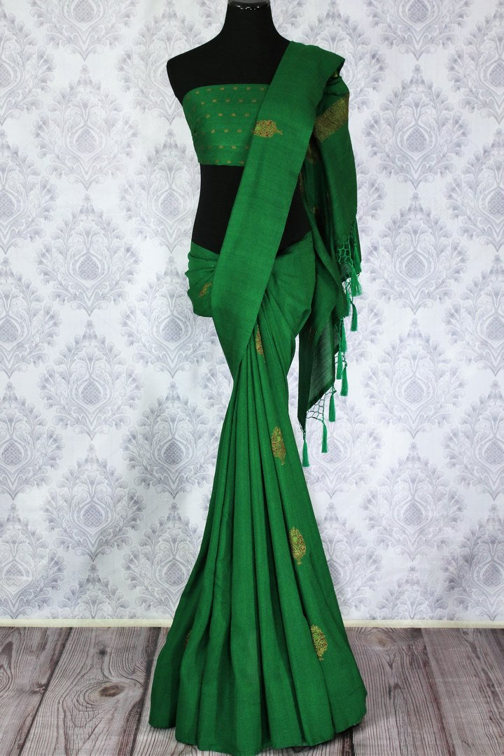 Elegant green muga Banarasi sari with buta buy online in USA. Shop the latest design Indian designer sarees from Pure Elegance clothing store in USA for women.-full view