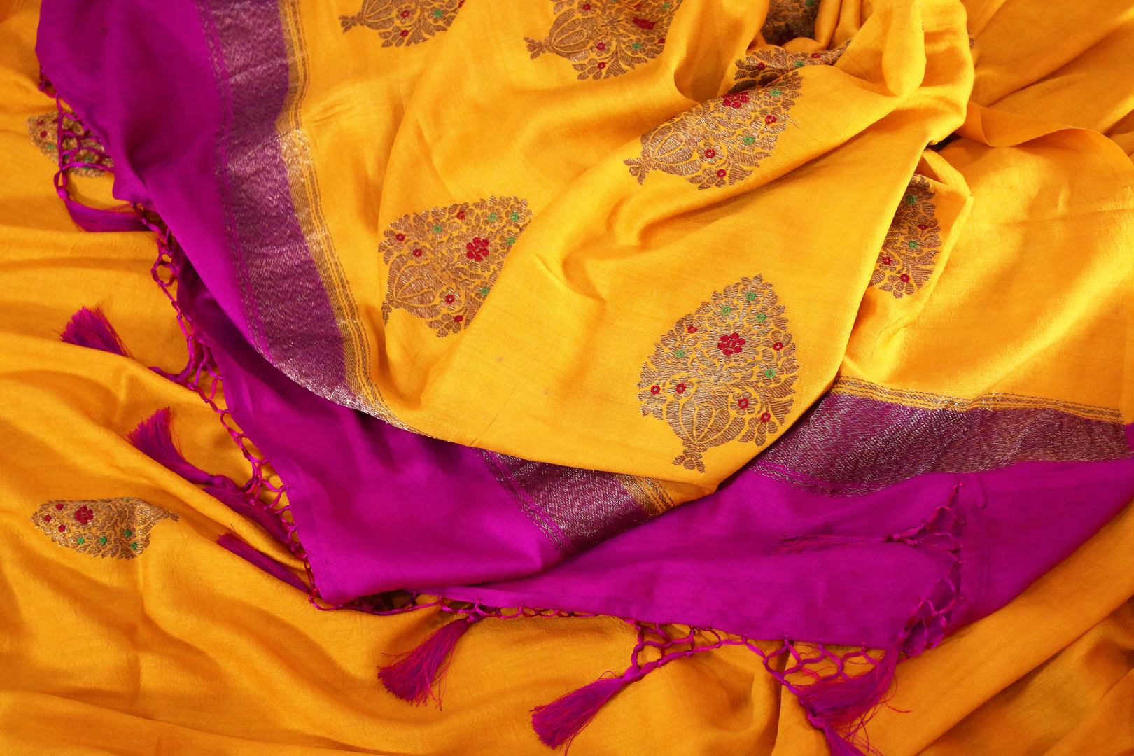 Bright yellow muga Banarasi saree with buta buy online in USA. Shop the latest design Indian designer sarees from Pure Elegance clothing store in USA for women.-details