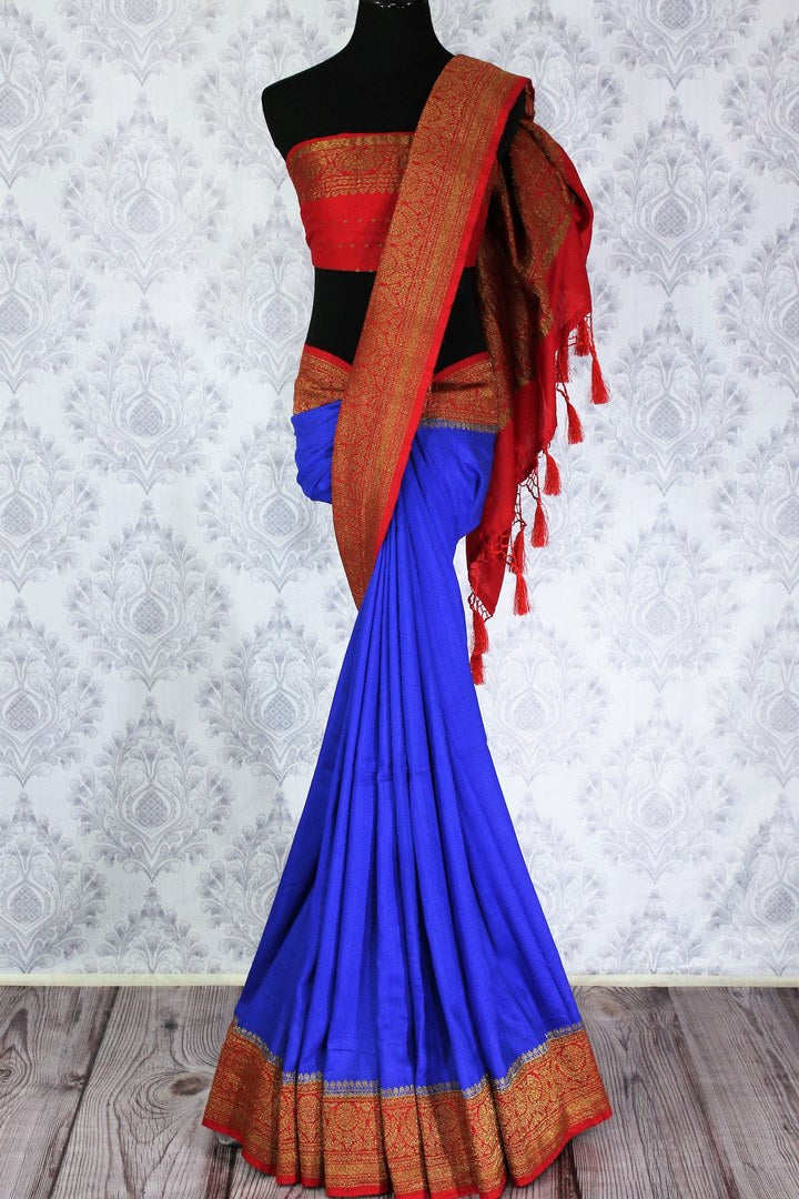 Gorgeous blue muga Banarasi sari with red border buy online in USA. Shop the latest design traditional Banarasi sarees from Pure Elegance Indian clothing store in USA.-full view