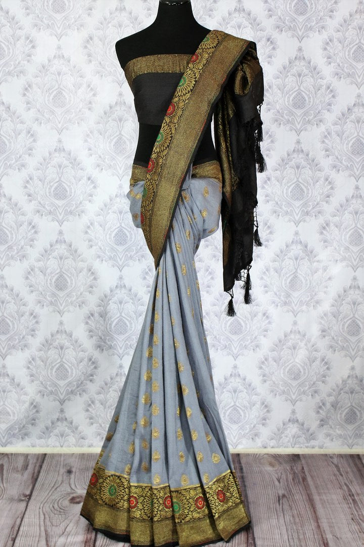 Elegant grey Muga Banarasi saree with zari buta buy online in USA. Explore a range of traditional Banarasi sarees in USA at Pure Elegance clothing store for women.-full view