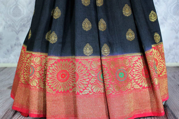 Regal black Muga Banarasi saree with zari buta buy online in USA. Explore a range of Indian wedding sarees in USA at Pure Elegance clothing store for women. Shop now,-pleats