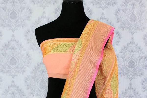 Beautiful peach color georgette Banarasi saree with zari buta buy online in USA. Explore a range of Indian designer sarees at Pure Elegance clothing store for women.-blouse pallu