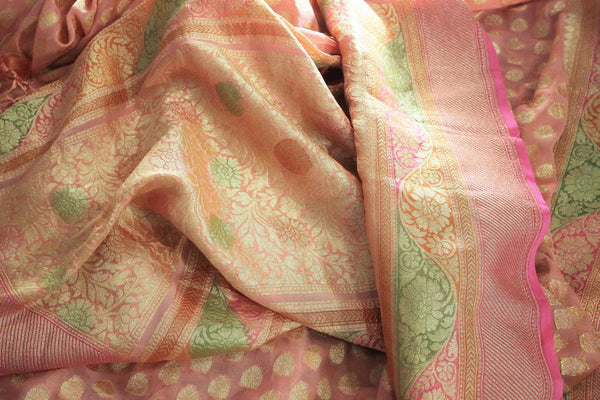 Beautiful peach color georgette Banarasi saree with zari buta buy online in USA. Explore a range of Indian designer sarees at Pure Elegance clothing store for women.-details
