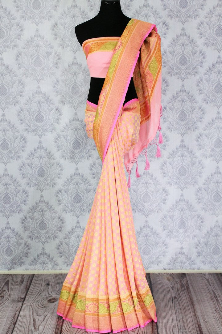 Soft pink color georgette Banarasi sari with zari buta buy online in USA. Explore a range of beautiful Indian designer sarees at Pure Elegance clothing store for women.-full view