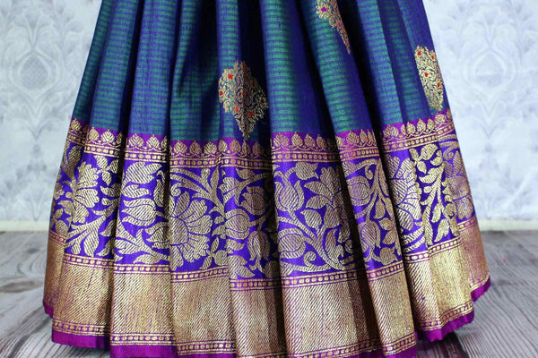 Beautiful greenish blue tussar Banarasi sari with zari buta buy online in USA. Explore a range of Indian designer saris at Pure Elegance clothing store for women.-pleats