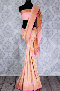 Beautiful pink color georgette Banarasi saree with floral design buy online in USA. Explore a range of Indian designer sarees at Pure Elegance clothing store for women.-full view