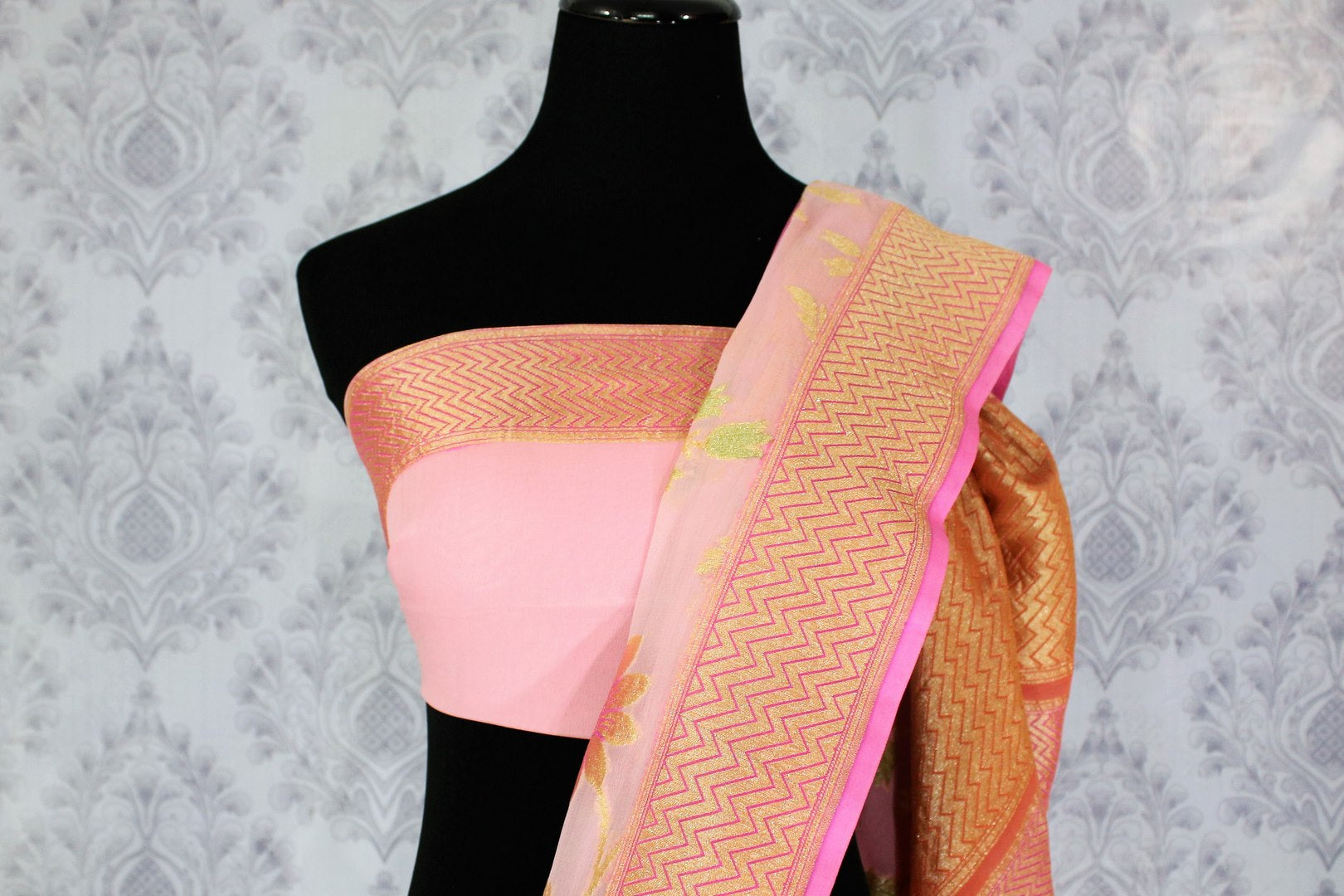 Beautiful pink color georgette Banarasi saree with floral design buy online in USA. Explore a range of Indian designer sarees at Pure Elegance clothing store for women.-blouse pallu