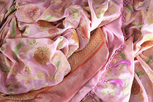 Beautiful pink color georgette Banarasi saree with floral design buy online in USA. Explore a range of Indian designer sarees at Pure Elegance clothing store for women.-details