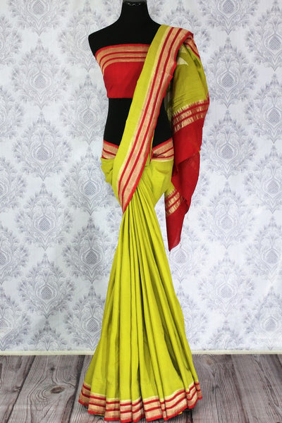 Parrot green muga Banarasi saree with red zari border buy online in USA. Explore a range of beautiful Indian Banarasi sarees at Pure Elegance clothing store for women.-full view