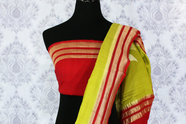 Parrot green muga Banarasi saree with red zari border buy online in USA. Explore a range of beautiful Indian Banarasi sarees at Pure Elegance clothing store for women.-blouse pallu
