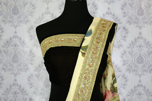 Buy cream tussar georgette printed sari online in usa with embroidered border. The designer saree is a stunning pick for parties and special occasions. For more such elegant Indian embroidered sarees in USA, shop at Pure Elegance Indian fashion store or visit online.-blouse pallu