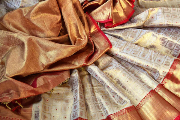 Beige gold Kanjivaram silk saree with zari border for online shopping in USA. Beautiful collection of Indian Kanjeevaram silk saris at Pure Elegance online store in USA.-details