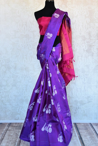 Beautiful purple Kanjivaram silk saree buy online in USA with buta. Make your ethnic wardrobe rich with  Indian silk saris from Pure Elegance online store in USA.-full view