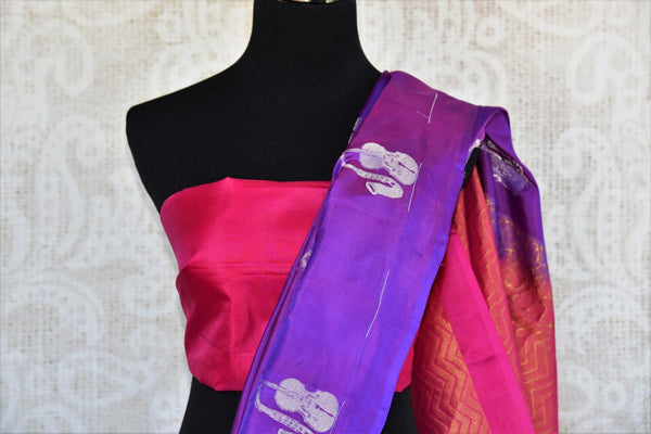 Beautiful purple Kanjivaram silk saree buy online in USA with buta. Make your ethnic wardrobe rich with  Indian silk saris from Pure Elegance online store in USA.-blouse pallu