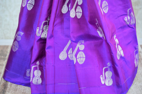 Beautiful purple Kanjivaram silk saree buy online in USA with buta. Make your ethnic wardrobe rich with  Indian silk saris from Pure Elegance online store in USA.-pleats