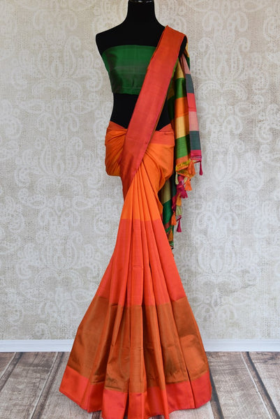 Buy elegant orange mulberry silk saree online in USA.  Elevate your Indian look with beautiful designer silk sarees at Pure Elegance Clothing Store in USA. -full view