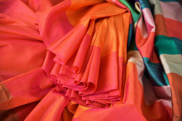 Buy elegant orange mulberry silk saree online in USA.  Elevate your Indian look with beautiful designer silk sarees at Pure Elegance Clothing Store in USA. -details