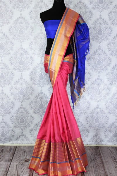 Buy pink color Kanjeevaram silk saree with gold zari border online in USA. Elevate your Indian ethnic style with traditional Indian Kanjivaram sarees at Pure Elegance Clothing Store in USA, perfect for weddings and parties.-full view