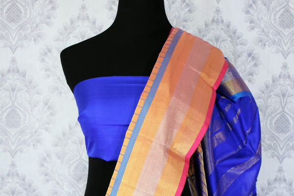 Buy pink color Kanjeevaram silk saree with gold zari border online in USA. Elevate your Indian ethnic style with traditional Indian Kanjivaram sarees at Pure Elegance Clothing Store in USA, perfect for weddings and parties.-blouse pallu