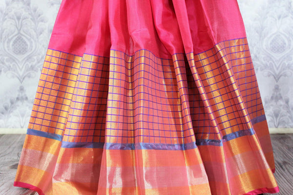 Buy pink color Kanjeevaram silk saree with gold zari border online in USA. Elevate your Indian ethnic style with traditional Indian Kanjivaram sarees at Pure Elegance Clothing Store in USA, perfect for weddings and parties.-pleats