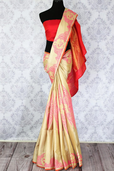 Buy cream color Kanjivaram silk saree with pink floral design online in USA. Elevate your Indian ethnic style with traditional Indian Kanchipuram sarees at Pure Elegance Clothing Store in USA, perfect for weddings and parties.-full view