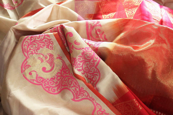 Buy cream color Kanjivaram silk saree with pink floral design online in USA. Elevate your Indian ethnic style with traditional Indian Kanchipuram sarees at Pure Elegance Clothing Store in USA, perfect for weddings and parties.-details