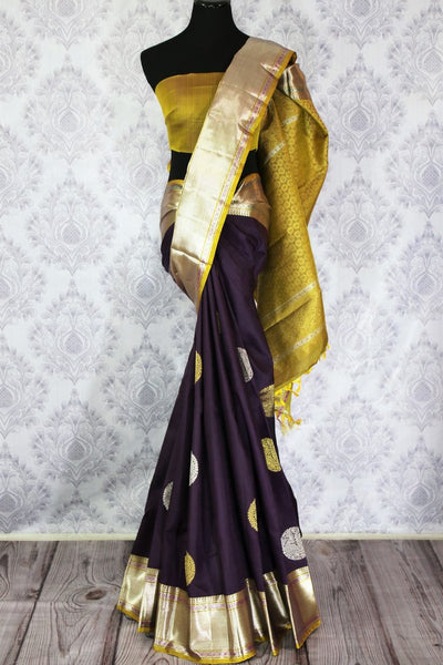 Buy dark blue Kanjivaram silk sari with zari border and buta online in USA. Dazzle in the brilliance of traditional Indian Kanchipuram sarees at Pure Elegance Clothing Store in USA, perfect for weddings and parties.-full view