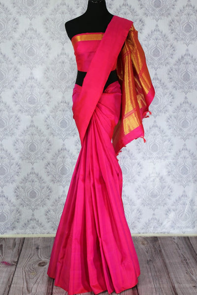 Buy bright pink Kanjivaram silk sari with golden zari pallu online in USA. Dazzle in the brilliance of traditional Indian Kanchipuram silk saris at Pure Elegance Clothing Store in USA, perfect for weddings and parties.-full view