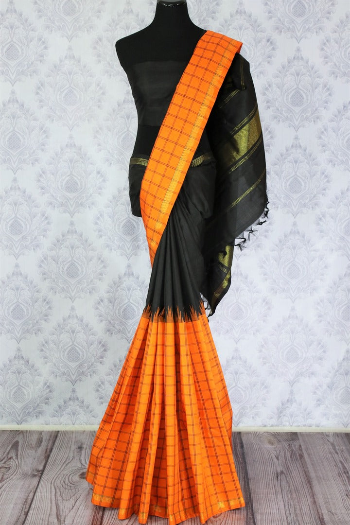 Buy classic orange and black Kanjivaram silk saree with check design online in USA. Immerse in the richness of traditional Indian Kanjeevaram sarees at Pure Elegance Clothing Store in USA, perfect for weddings and parties.-full view
