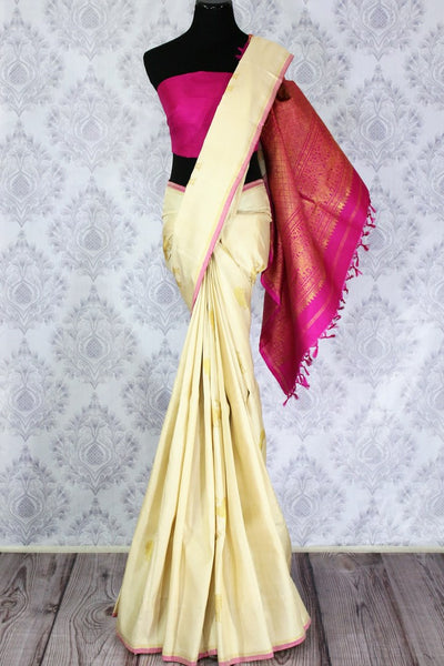 Elegant cream Kanchipuram silk sari with lion zari buta buy online in USA. Make tasteful choices with a range of Indian Kanjeevaram sarees at Pure Elegance Clothing Store in USA, perfect for weddings and special occasions.-full view
