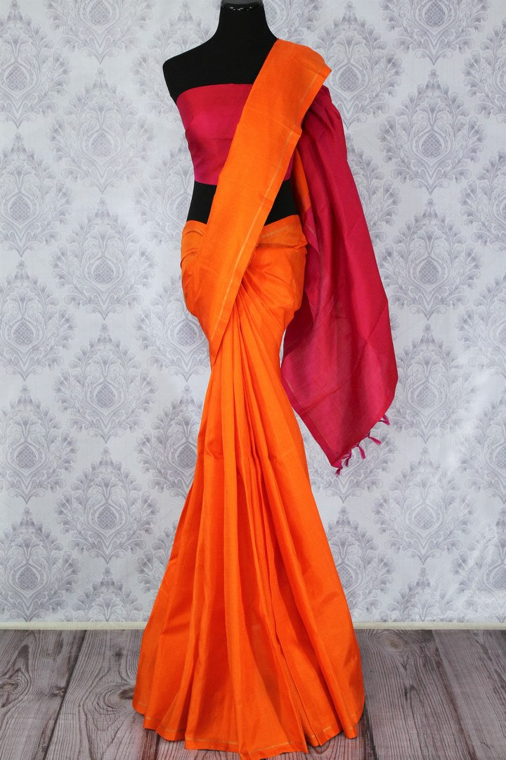 Solid orange Kanchipuram silk saree buy online in USA. Make tasteful choices with a range of Indian Kanjivaram sarees at Pure Elegance Clothing Store in USA. Shop now.-full view