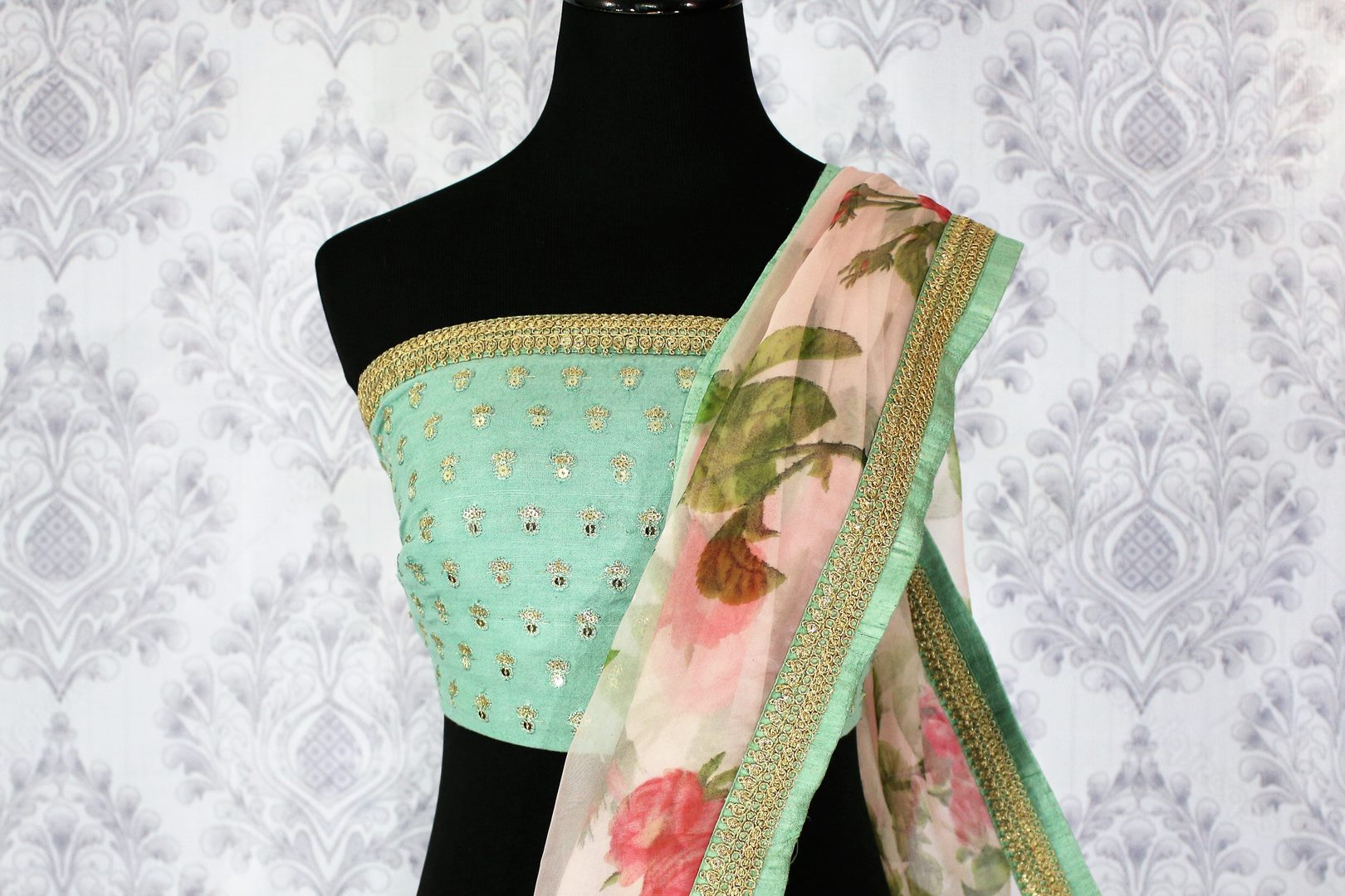 Buy beautiful pink floral print organza saree online in USA.  Pure Elegance Indian Clothing store brings an exquisite collection of handloom sarees in USA for parties and special occasions. Turn heads with stunning Indian sarees available online and our fashion store in USA.-blouse pallu