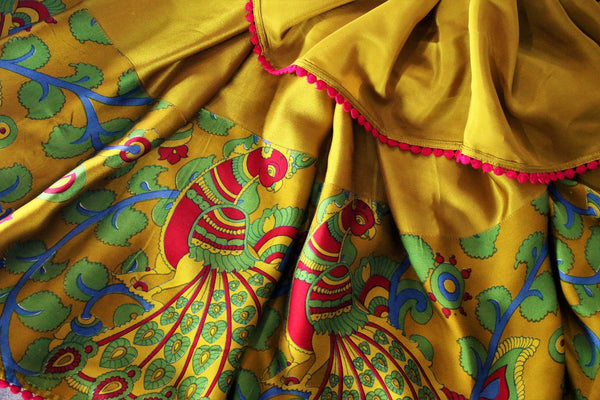 Buy mustard yellow printed crepe saree with designer blouse online in USA.  Pure Elegance Indian Clothing store brings an alluring collection of designer sarees in USA for parties and special occasions. Turn heads with beautiful Indian sarees available online and our store in USA.-details