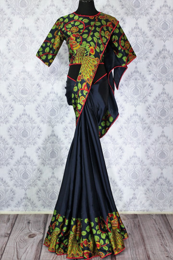 Buy navy blue printed crepe saree with blouse online in USA.  Pure Elegance Indian Clothing store brings an alluring collection of designer sarees in USA for parties and special occasions. Add elegance to your style with our beautiful Indian sarees available online and our store in USA.-full view