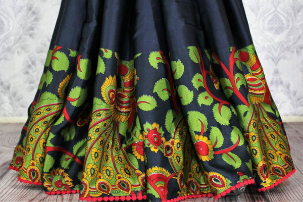 Buy navy blue printed crepe saree with blouse online in USA.  Pure Elegance Indian Clothing store brings an alluring collection of designer sarees in USA for parties and special occasions. Add elegance to your style with our beautiful Indian sarees available online and our store in USA.-pleats