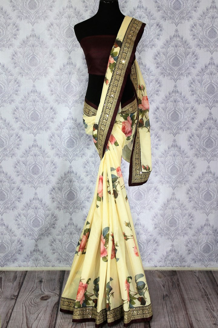 Buy designer cream tussar georgette printed sari with embroidery online in USA.  Pure Elegance Indian Clothing store brings an alluring collection of designer sarees in USA for parties and special occasions. Add elegance to your style with our Indian sarees available online and our store in USA.-full view