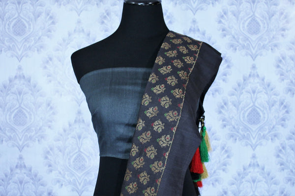 Black georgette Banarasi saree for online shopping in USA. The classy saree is decorated with buta on the border which makes it so captivating. Select from an exquisite collection of traditional Indian Banarasi sarees, designer saris at Pure Elegance clothing store or shop online.-blouse pallu