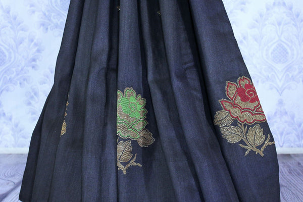 Buy elegant black muga Banarasi saree online in USA. The beautiful saree is a great choice for a classic Indian look at special occasions. Select from an exquisite collection of traditional Indian Banarasi sarees, Banarasi silk saris at Pure Elegance clothing store or shop online for weddings, parties, and festivals.-blouse pallu