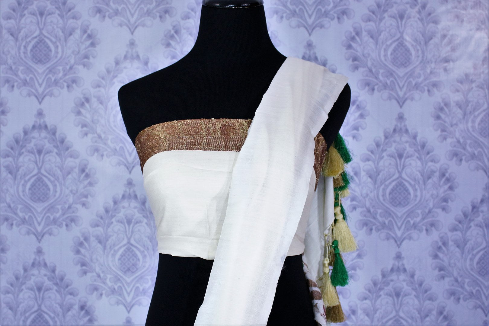 Buy classic white muga Banarasi sari online in USA. Select from an exquisite collection of traditional Indian Banarasi sarees, silk sarees at Pure Elegance clothing store or shop online for weddings, parties, and festivals.-blouse pallu