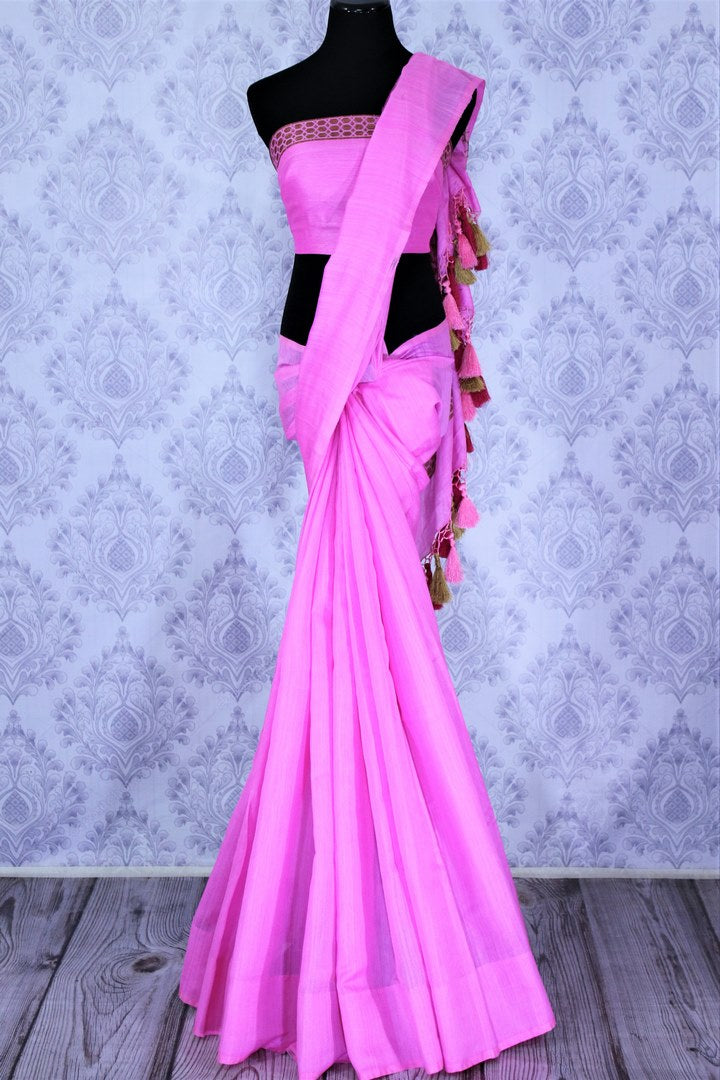 Buy light pink muga Benarasi saree online in USA. The striking saree is a great choice to keep it simple and ethnic at special occasions. Select from an exquisite collection of traditional Indian Banarasi sarees, Banarasi silk saris at Pure Elegance clothing store or shop online for weddings, parties, and festivals.-full view
