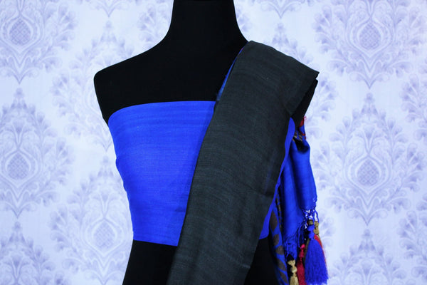 Buy black muga Banarasi sari online in USA with blue pallu. The beautiful saree is a great choice for a classic Indian saree look at special occasions. Select from an exquisite collection of traditional Indian Banarasi sarees, silk saris at Pure Elegance clothing store or shop online for weddings, parties, and festivals.-blouse pallu