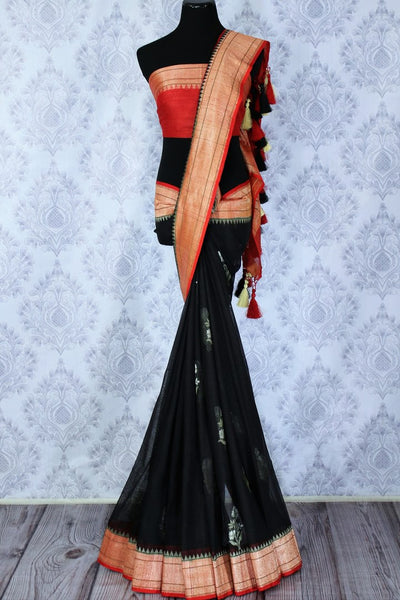 Buy black tussar saree with red zari border online in USA. The beautiful saree is a great choice for a classic Indian look at special occasions. Select from an exquisite collection of traditional Indian sarees, silk saris at Pure Elegance clothing store or shop online for weddings, parties, and festivals.-full view
