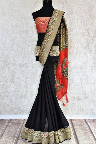 Buy elegant black georgette Banarasi sari online in USA. The saree is a stunning pick for parties and special occasions. Brighten up your ethnic look with an exquisite collection of Indian designer saris available at Pure Elegance clothing store in USA or shop online.-full view