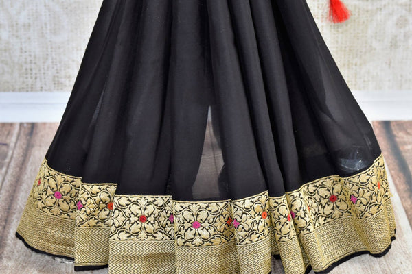 Buy elegant black georgette Banarasi sari online in USA. The saree is a stunning pick for parties and special occasions. Brighten up your ethnic look with an exquisite collection of Indian designer saris available at Pure Elegance clothing store in USA or shop online.-blouse pallu