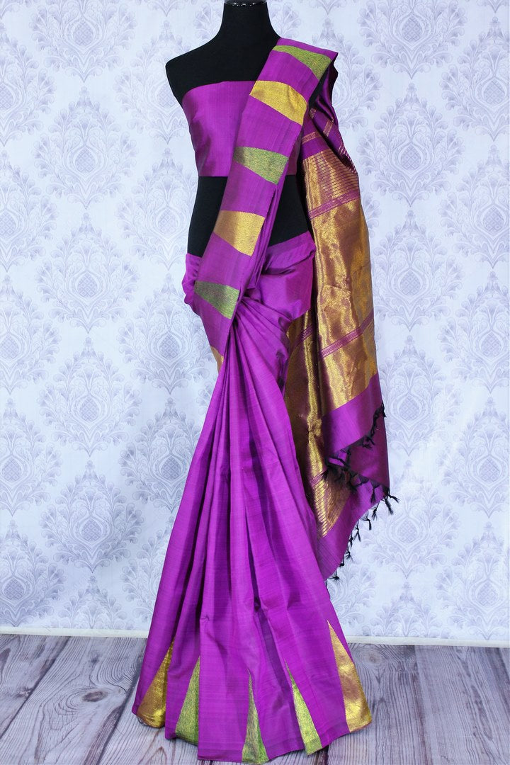 Buy elegant purple Kanchipuram silk saree online in USA with temple border. The beautiful saree is a stunning choice for a traditional Indian look at special occasions. If you are looking for such traditional Kanjivaram silk sarees in USA, then shop at Pure Elegance Indian clothing store.-full view