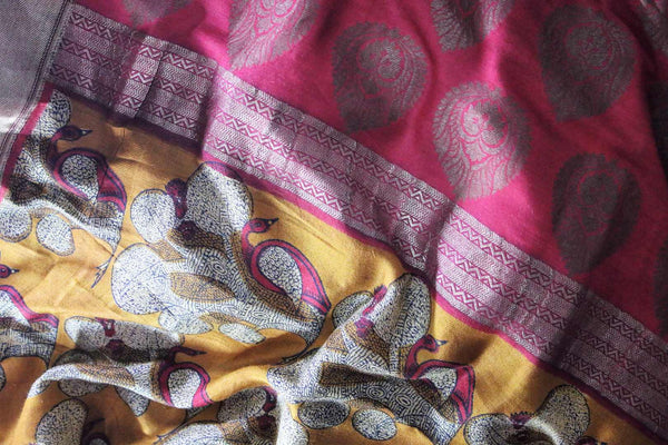 Buy mustard yellow printed silk sari online in USA. The saree has a shining Benarasi zari border is a bright and beautiful choice for parties.  Buy more such beautiful Indian Banarasi saris in USA at Pure Elegance fashion store and keep it ethnic at every occasion.-details